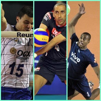 Da esquerda para direita: Riad (RJX), Serginho ( SESI) e Lucarelli ( VIVO-MInas)