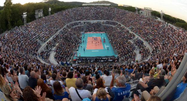 O Foro Itálico recebeu a partida entre Itália x Polônia, na Liga Mundial de 2014. ( Foto: FIVB)